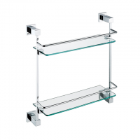 Evans Brass Double Glass Shelf (Chrome)