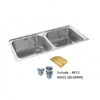 Bareno S/S 2Bowl Sink 1mm Thick 2038F140