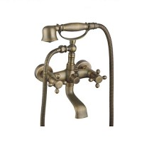 Evans Antique Vintage Bathtub Shower Combo Faucet Wall-Mounted Antique Brass