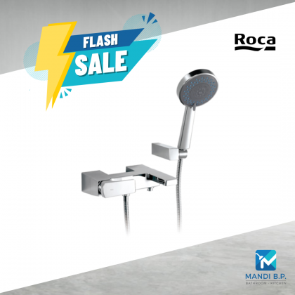 Roca Escuadra Wall-mounted shower mixer with 1.7 m flexible shower hose, handshower and wall bracket