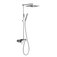 Johnson Suisse Single lever wall-mounted shower mixer column set with panel and button diverter