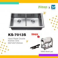Filton Season Sale Handmade One Piece Double Kitchen Sink