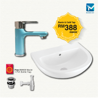 JOHNSON SUISSE COMO WALL-HUNG BASIN WITH BASIN MIXER SET