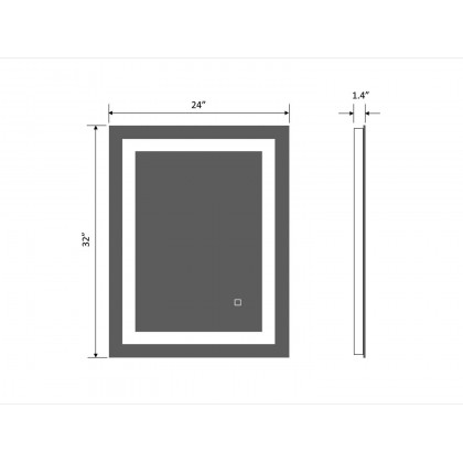 Evans LED Lighted Bathroom Mirror with Touch Sensor   Rectangle Vertical Mirror