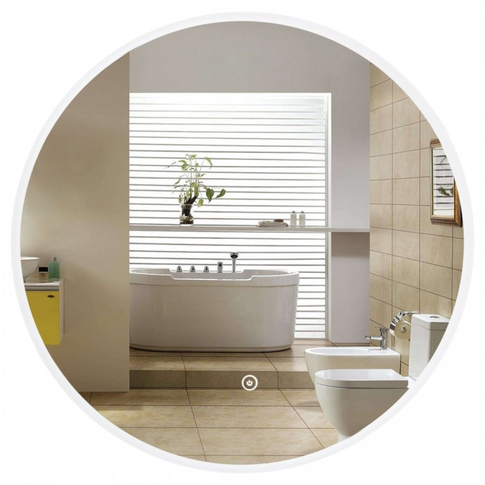Evans Led Lighted Bathroom Mirror With Touch Sensor Lighted Round