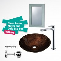 Evans Glass Basin Full Set with Mirror