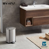 Evans Stainless Steel Dustbin 12 Liter Rectangular Garbage Trash Can with Step Foot Pedal