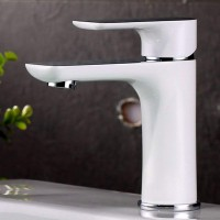 White Finish Basin Pillar Tap Bathroom Sink Tap ( Solid Brass )