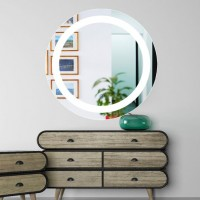 Evans LED Lighted Bathroom Mirror with Touch Sensor Lighted Round Mirror