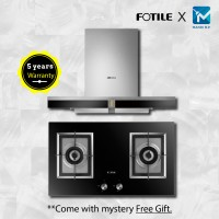 Fotile EMS9016 Chimney Hood + Fotile GAG76202 Built-in Gas Hob