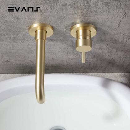 Evans Wall Mounted Mixer Single Handle Bathroom Sink Faucet (Gold)