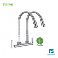 Filton Kitchen Wall Sink Tap Double Flexible Spout