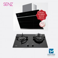 SENZ IntelClean Twin Turbo Motor MultiHood Home / Cooker Hood + Made-in-Italy SABAF Twin Burner Gas Hob
