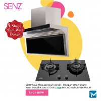 SENZ Slim Wall Angled MultiHood + Made-in-Italy SABAF Twin Burner Gas Hob