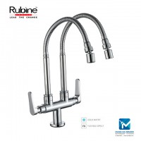 Rubine Double Spout Pillar Sink Tap with double Flexible Spout (360)