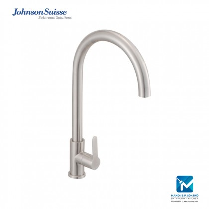 Johnson Suisse Murano ½ inch deck-mounted sink tap with swivel spout, stainless steel