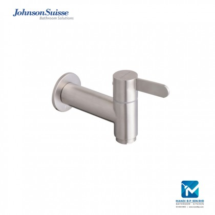 Johnson Suisse Santino ½ inch bib tap with wall flange, stainless steel