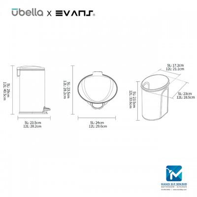 Evans X Upella Optimal Step Bin / Stainless Steel Dustbin 12L