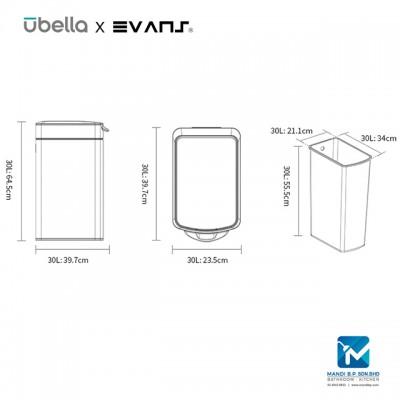 Evans X Upella Touch-Pro Dustbin 30L