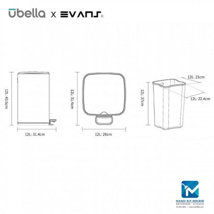 Evans X Upella Knight Step Bin / Stainless Steel Dustbin 12L