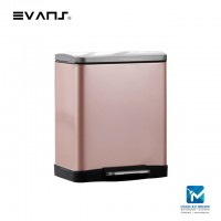 Evans Stainless Steel Dustbin 20L Rectangular Garbage Trash Can with Step Foot Pedal