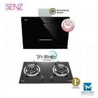 SENZ Heat Pro intelClean MultiHood + Tri-Ringz Twin Burner Gas Stove