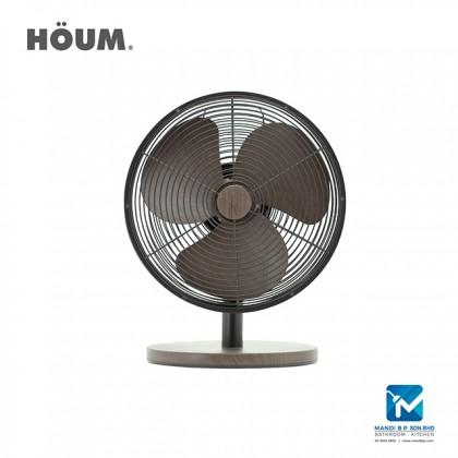 "Houm S Series 3 Speed Setting Table Fan 12"" Walnut Color"