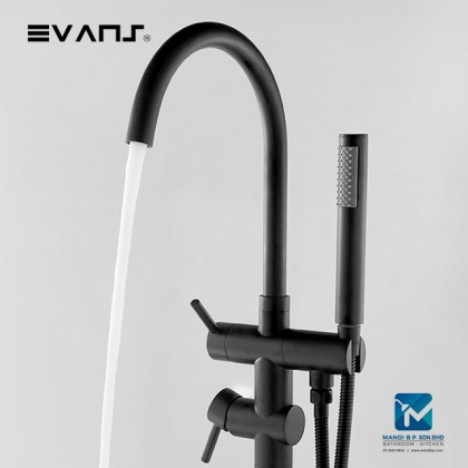 Evans Freestanding BathTub Faucet Mixer Brass Single Handle with Hand Shower -Black