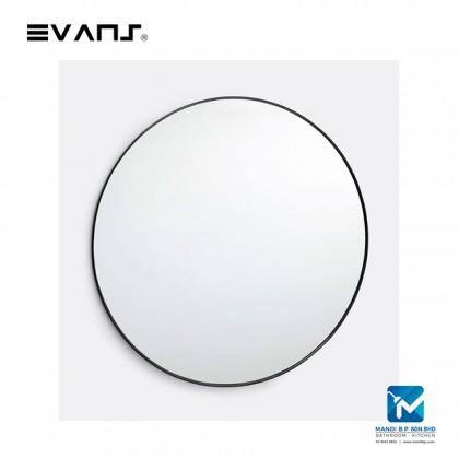 Evans Glass Panel Black Framed, Round Mirror Decorative Mirror Durable - Black 60cm