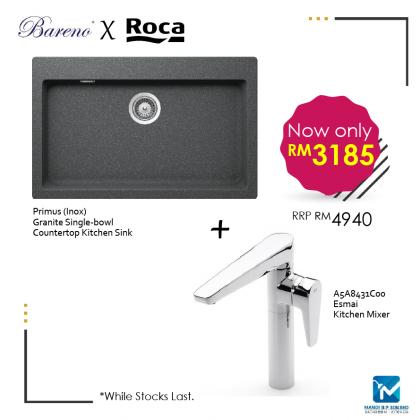 Bareno Countertop Kitchen Granite Sink + Roca Kitchen Mixer Set / Kitchen / Mandibp / Hansgrohe / Franke / Roca 8431