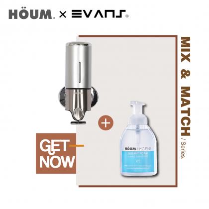Houm X Evans HYGIENE Instant Foam Hand Sanitizer 500ML with ABS Soap Dispenser 500ml