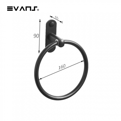 Eket No Nail / Drill Towel Ring - Matt Black