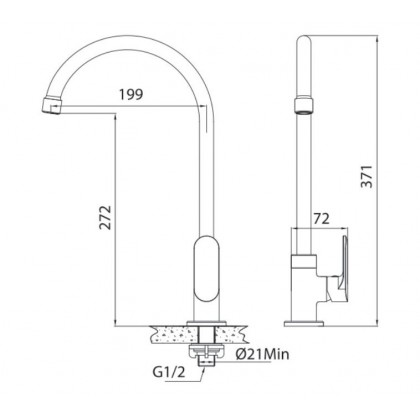 Brass Pillar Sink Tap With Single Level Handle and Swivel Spout, Kitchen Tap - F5617506101