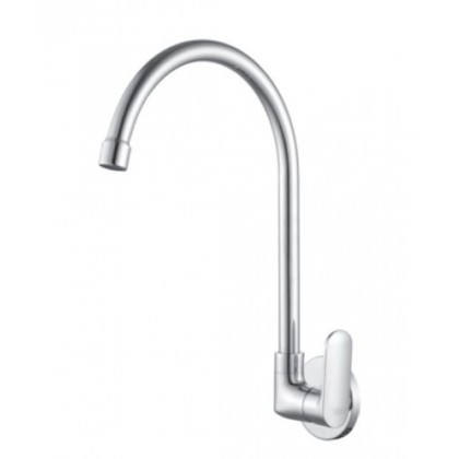 Brass Wall Mounted Sink Tap With Single Level Handle, Swivel Spout and Wall Flange, Wall Mounted Kitchen Tap - F5617508101