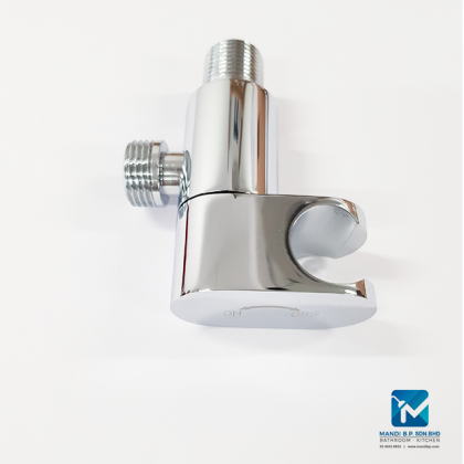 """Quarter Turn Brass 1/2"""" Angle Valve with Integrated Hose Holder & Wall Flange - A4011"""