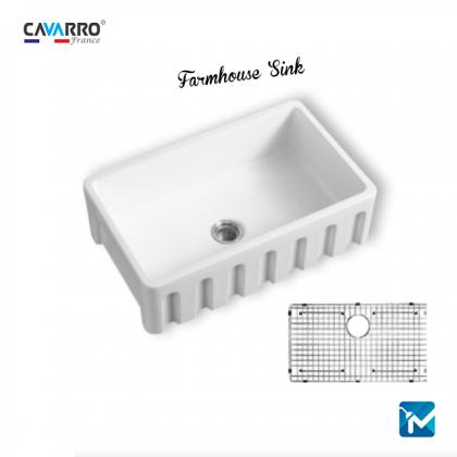 Cavarro Ceramic Kitchen Farmhouse Sink, Apron Sink CF302010C
