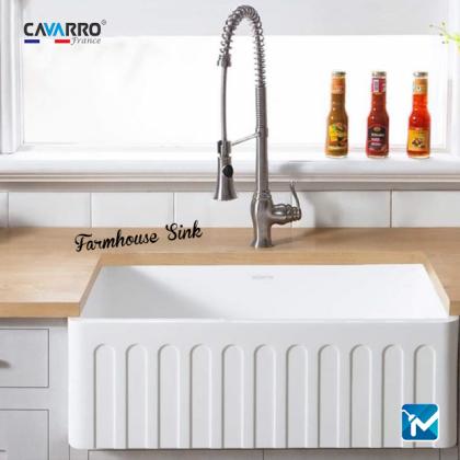 Cavarro Ceramic Kitchen Farmhouse Sink, Apron Sink CF331910