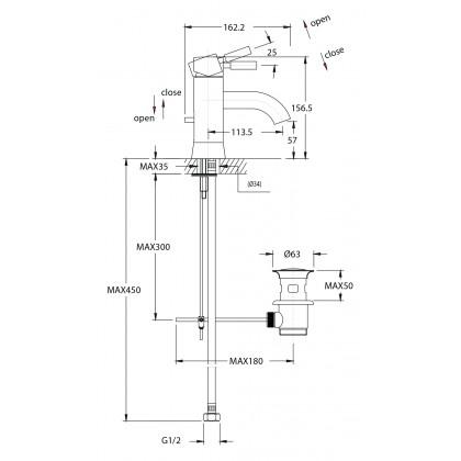 """Display Unit"" Johnson Suisse Ferrara Basin Mixer"