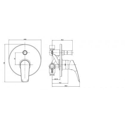 """Display Unit"" Johnson Suisse Iris Concealed Bath-shower Mixer with Diverter"