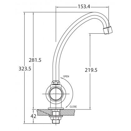 """Display Unit"" Johnson Suisse Ravenna Deck-mounted Sink Tap"