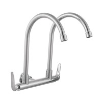 Johnson Suisse Fermo Wall-mounted Double Sink Tap (round spout)