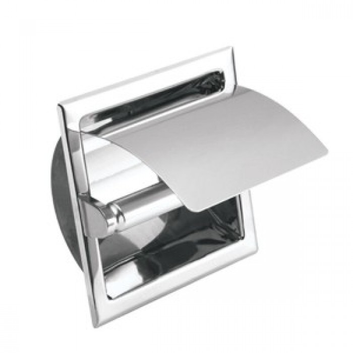 Johnson Suisse Commercial Semi Recessed Toilet Roll Holder With Cover