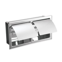 Johnson Suisse Commercial Double Semi-Recessed Toilet Roll Holder with Cover