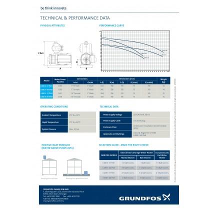 Grundfos Water Booster Pump (0.8HP) - CMB3-46PM1