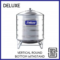 Deluxe 304 Stainless Steel  Vertical Round Bottom With Stand Water Tank